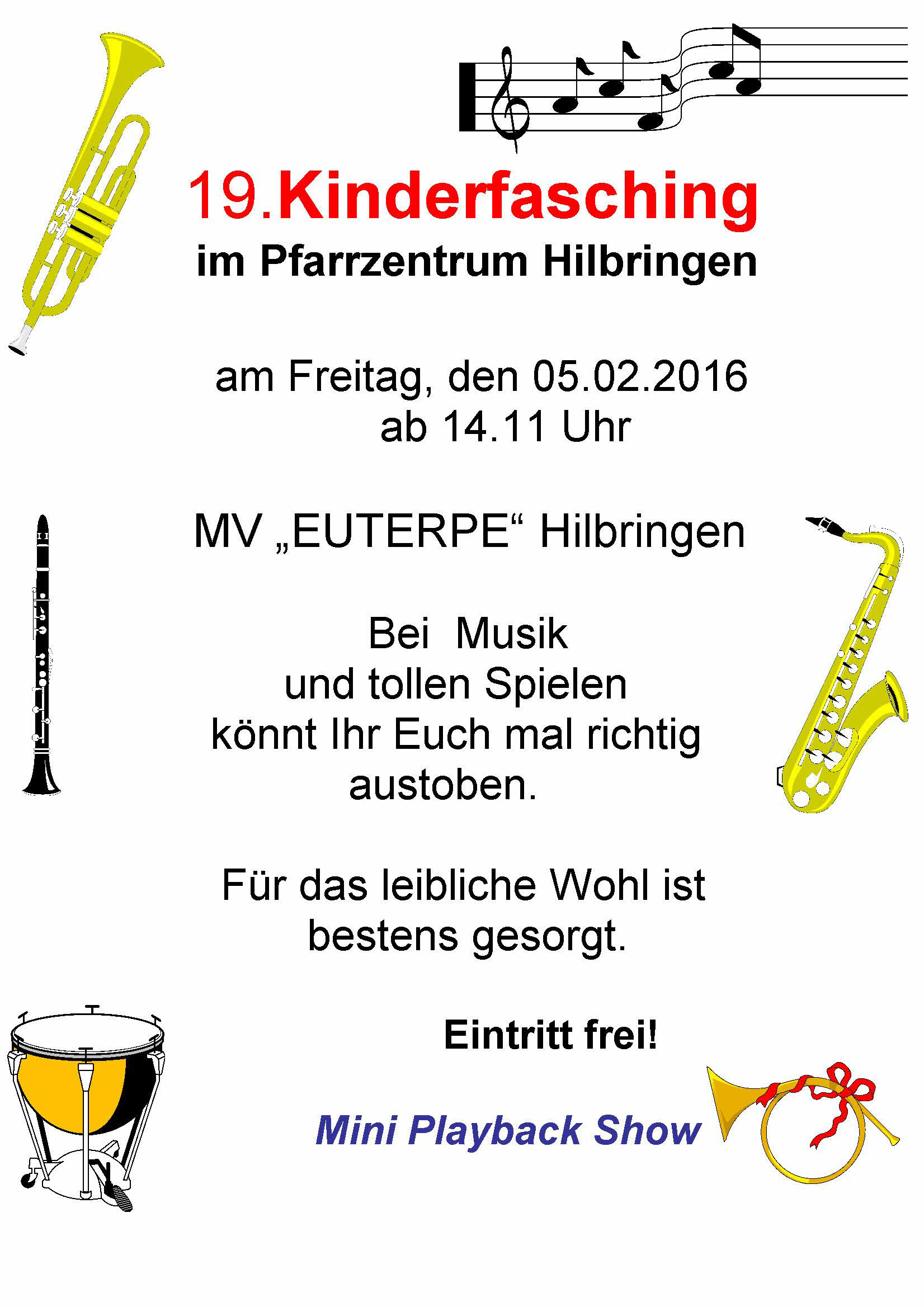 Euterpe Kinderfasching Plakat